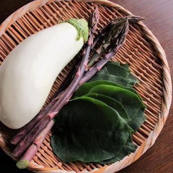 本来 緑色の野菜、本来 紫色の野菜…