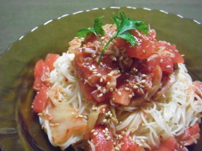 トマトとキムチとシラスの冷製カッペリーニ