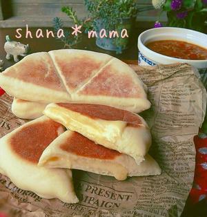 レンジで発酵♪焼きはフライパン♪チーズナン♪