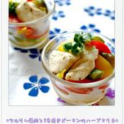 ☆ツルりん鶏肉と3色焼きピーマンのハーブマリネ☆