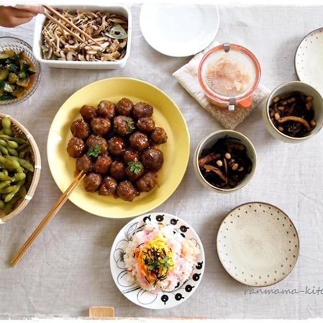 肉団子の甘酢バージョンで夕ご飯。