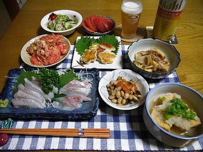 【晩酌】石鯛のお造り・たけのこ土佐煮・揚げだし厚揚げ…