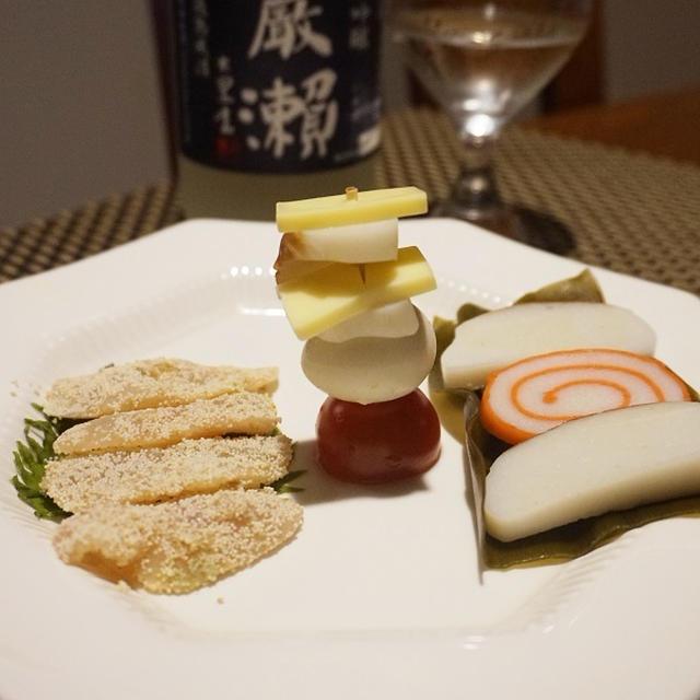 富山昆布締めピンチョス、車鯛の子漬け、しめじのブルーチーズ酢味噌和え、鹿肉の生姜霙餡