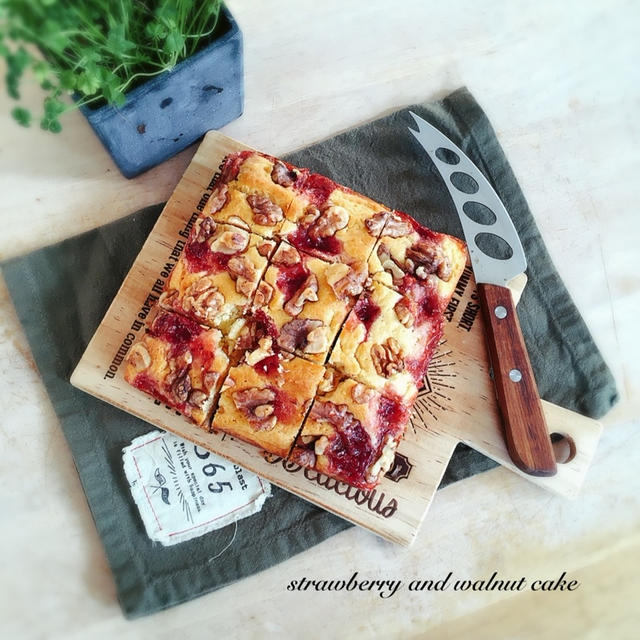HMで*オーブンまで5分!*しっとり苺と胡桃のケーキ