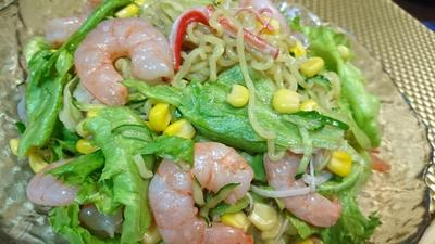 【レシピ】簡単★残り食材を上手に活用【ごろごろエビのラーメンサラダ】
