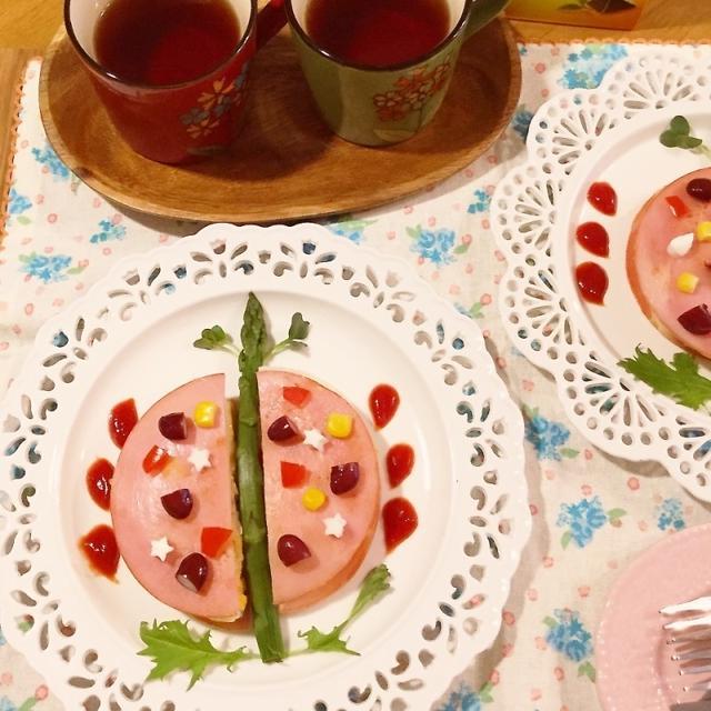 サンドイッチの具でハムチーズバーガー♡蝶々