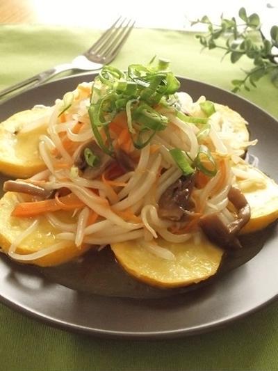 レトルトパスターソースで♪野菜だけ 和風きのこ醤油パスタ風!