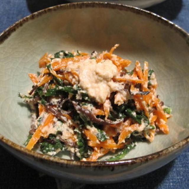 白和え二種 & 鮭の茸あんかけ   11・30・2012