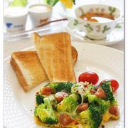 ブロッコリーの卵とじワンプレート朝ごはん