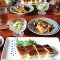 うなぎの押し寿司 と 豚ばら肉の梅煮