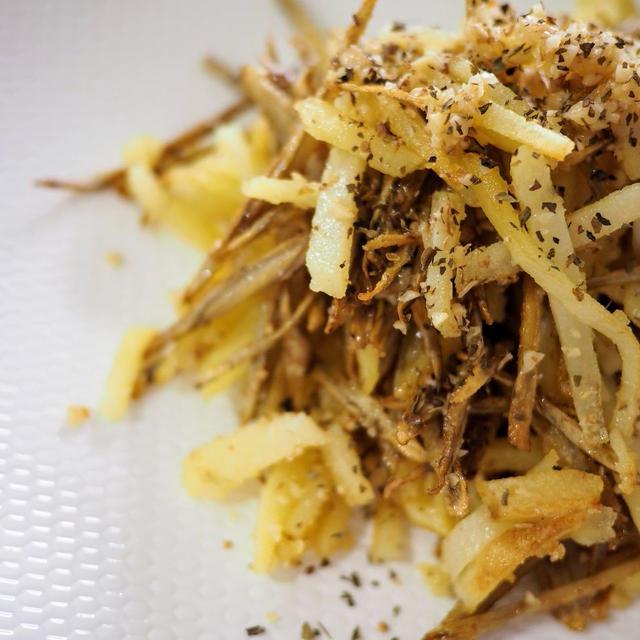 ごぼうフライとジャガイモフライの胡桃(くるみ)塩和え【#簡単レシピ #おつまみ】