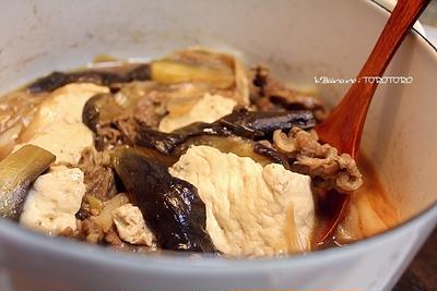 茄子と牛肉と豆腐と葱の、とろ煮