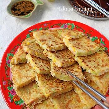 白菜1/4個ペロリ♪シャキシャキ白菜とハムコーンのもっちりチヂミ