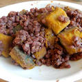 土鍋で作る 低糖質な あずきかぼちゃ レーズン入り レシピ