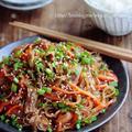 ♡フライパンde超簡単♡豚肉と残り野菜の甘辛チャプチェ♡【#時短#節約#春雨#ヘルシー】