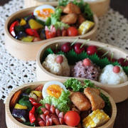 スーパー猛暑?(´・ω・`;) ✿ bento&晩ご飯(๑¯﹃¯๑)♪