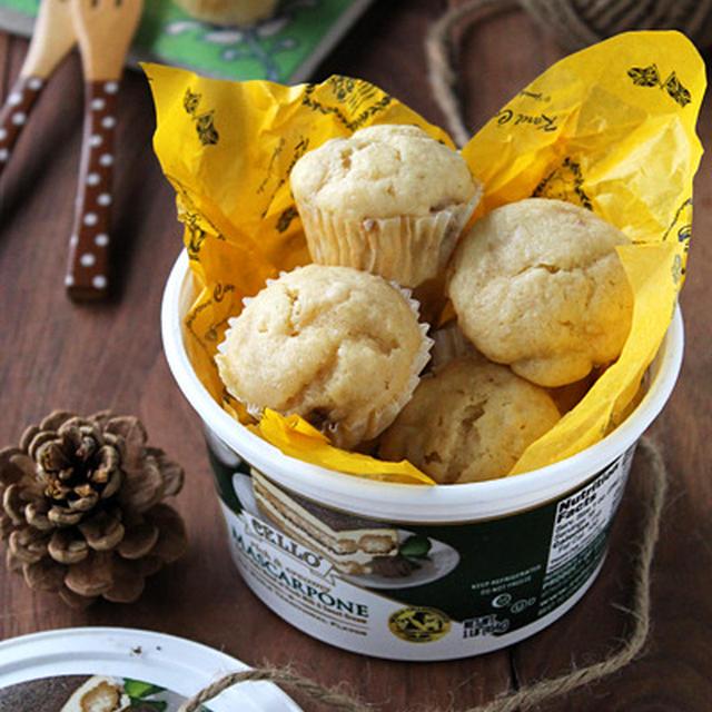 バター不使用焼き菓子!しっとりマスカルポーネとバナナのミニマフィン