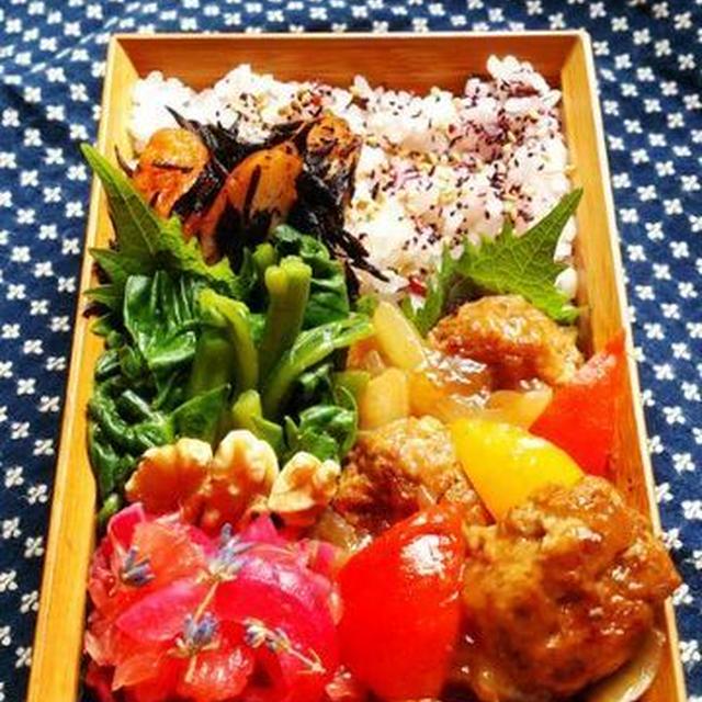2015/8/11肉だんごの甘酢あん弁当