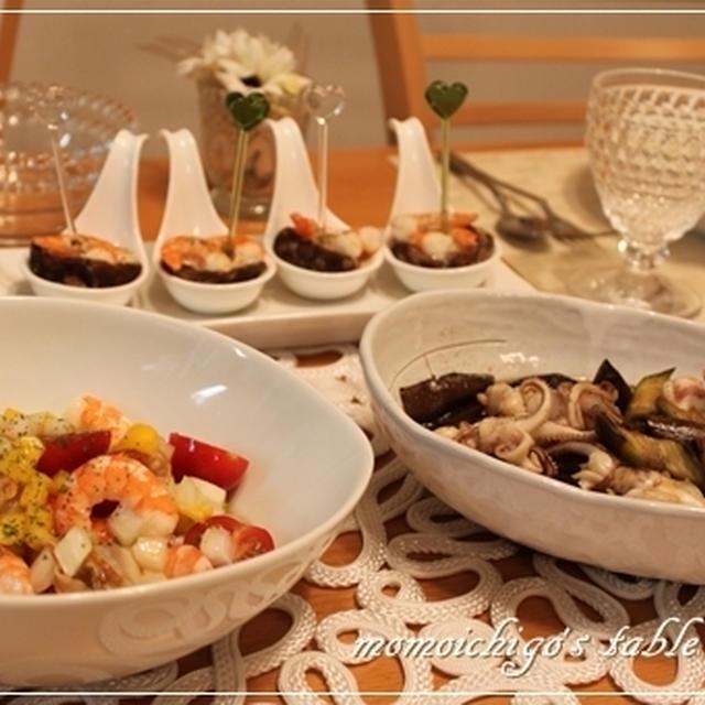 ゴルゴンゾーラのペンネ・エビと椎茸のゴルゴンゾーラ焼き・マリネ・茄子とイカの田舎煮で晩ごはん♪