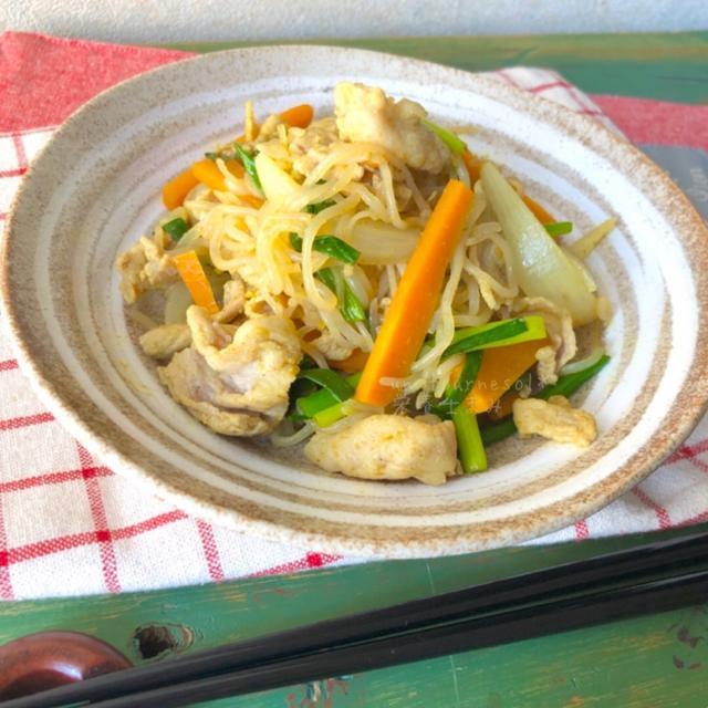 【下ゆで&油不要!】便通よくして肥満予防☆糸こんのカレー味チャンプルー♡レシピ