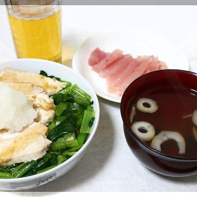 びんちょうまぐろと小松菜の丼