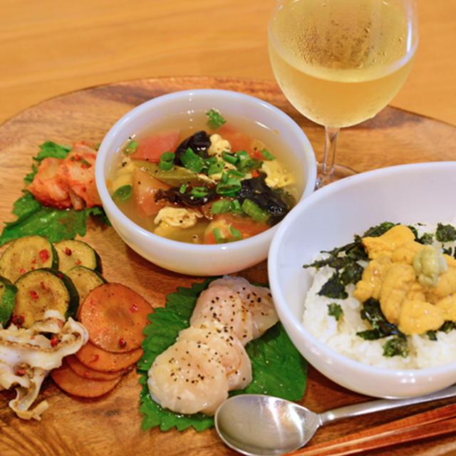 7月29日 水曜日 トマトと卵の中華スープ&生雲丹丼
