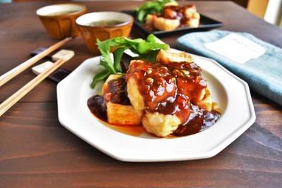 【時短+節約】豆腐が主役!揚げ豆腐の麻婆ソース ~クイックもずくスープ~