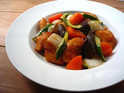 野菜たっぷり酢鶏