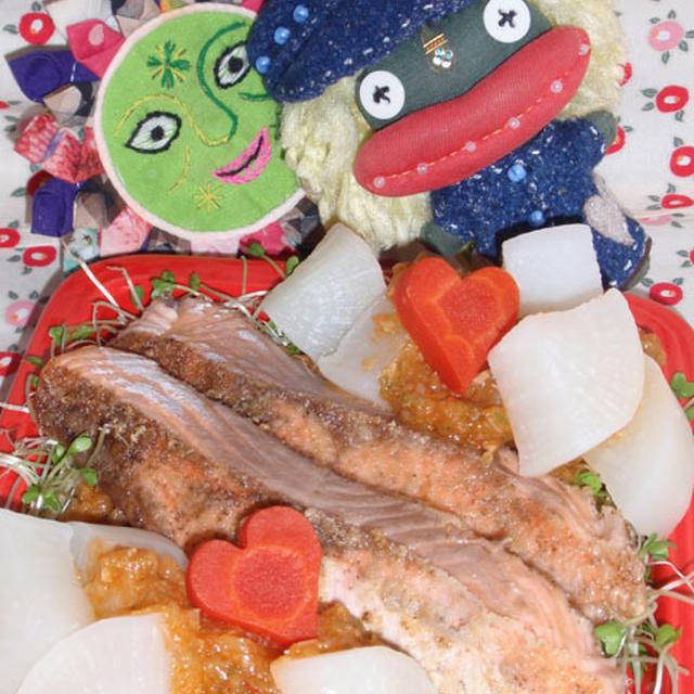 鮭と大根のネギソース&白ネギのシンプルサラダ(お家カフェ)
