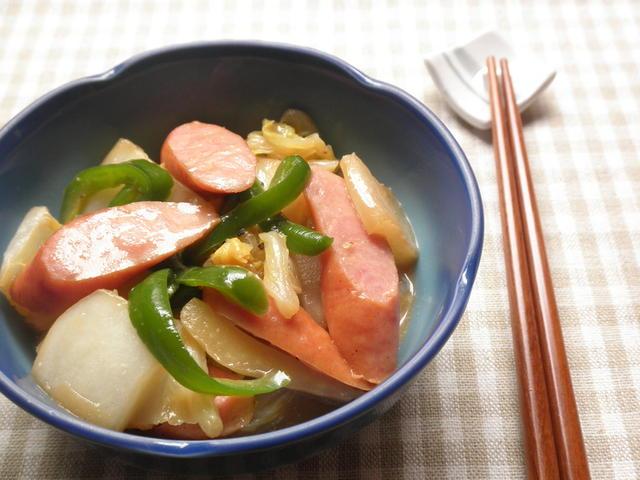 白菜とウインナーのオイスターマヨ炒め