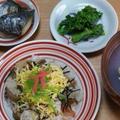 ひなまつり2012 (ちらし寿司、鰆の西京焼き、菜の花のからし和え、はまぐりの潮汁、ひなまつりケーキ)