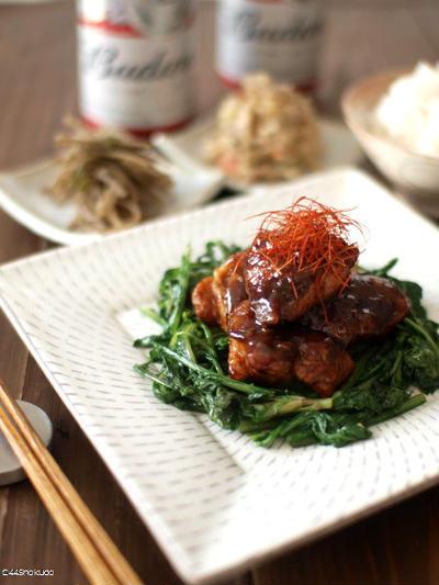 お弁当にもご飯にもビールにも、鶏の甜麺醤焼き・春菊添え。