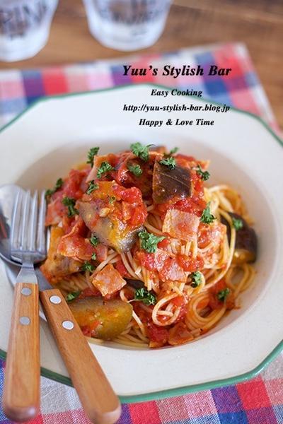 【レシピブログ連載】トマト缶を煮込むだけ♡『秋ナスとベーコンのウマ旨♡トマトパスタ』