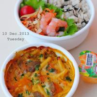12月10日 火曜日 南瓜と肉味噌のマカロニグラタン&ひじきと新生姜の炊き込みご飯
