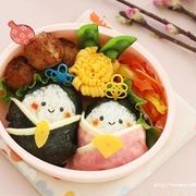 【ひな祭りキャラ弁動画レシピ】お雛様とお内裏様のお弁当♪