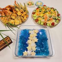 【2021七夕*サラダ素麺とバタフライピー寒天etc&おうち夏祭りあれこれ*】