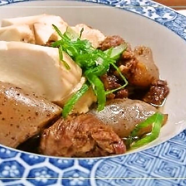 切り出し肉のにんにく肉豆腐