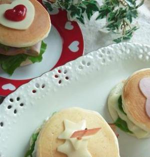 パンケーキDEお好み☆ハンバーガー♪~大人用はピリッと「からし」をきかせて♪~
