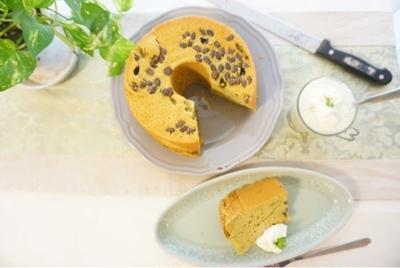 【レシピ】大納言入り豆乳抹茶シフォンケーキ