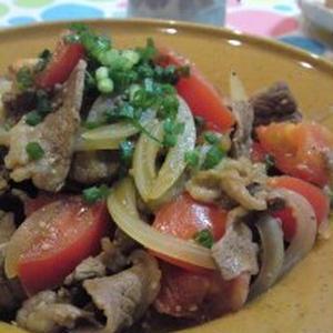牛肉とトマトのガーリックカレー炒め