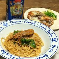 海老クリームパスタと鶏肉の香草チーズ焼き