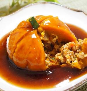挽き肉入りかぼちゃまんじゅうの生姜あんかけ