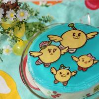 ほんとうの空がある福島☆キビタンキャラチョコ青空ゼリー&桃チョコムース
