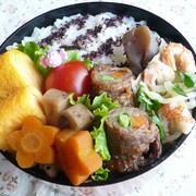 野菜の牛肉巻き弁当&栗ごはん♪