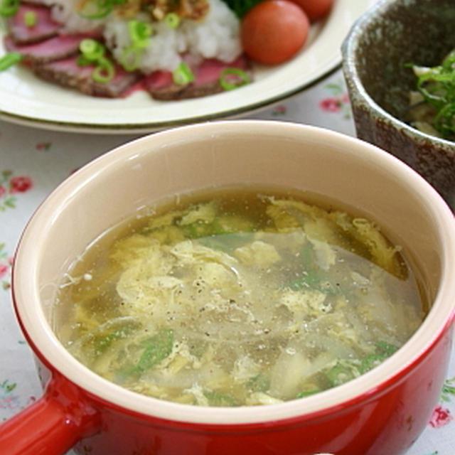 オクラ入り ふわふわ卵スープ