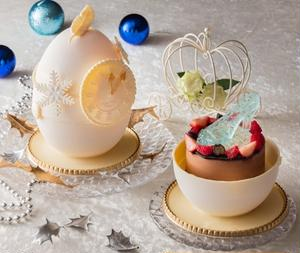 シンデレラのワンシーンをイメージしたケーキ。12時を過ぎた時計のついたタマゴ型のボックスを開けると、...