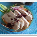 低温調理器で作る塩麹鶏ハムと福岡県産オクラと紅だてのぶっかけそば♪