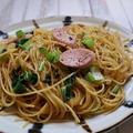 ランチにピッタリ♪「魚肉ソーセージと小松菜の和風パスタ」