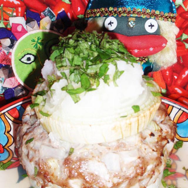 新玉ネギの挽き肉サンド&水菜と茗荷のサラダ&炊飯器で作る粒あん(お家カフェ)