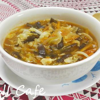 無農薬野菜のキムチ味噌スープ